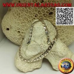 925 ‰ Silberkette mit 62 cm x 5,5 mm x 1 mm Diamant-Groumette-Kette