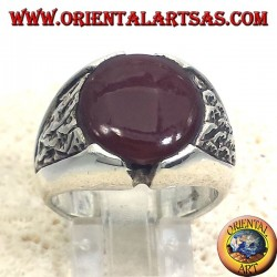 Men's silver ring with carnelian round