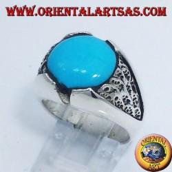 anello da uomo con turchese tondo