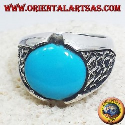 Men's ring with round turquoise