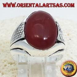 anillo de plata con cabujón oval de cornalina