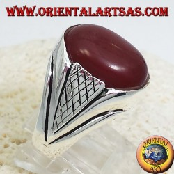 silver ring with carnelian cabochon oval