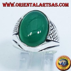 silver ring with green agate cabochon oval