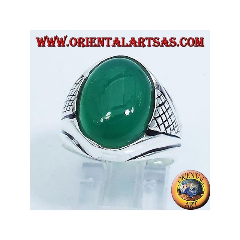 anello in argento  con agata verde  cabochon ovale