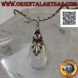 Silver drop pendant with...