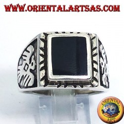 silver ring with square onyx and eagles