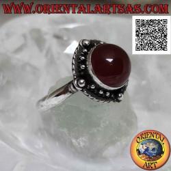 Серебряное кольцо с круглым...
