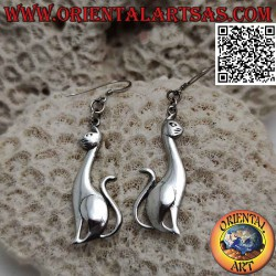 Silver earrings with smooth...