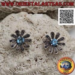 Silver lobe earrings in the...