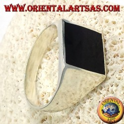 simple silver ring with onyx flat 13 * 13