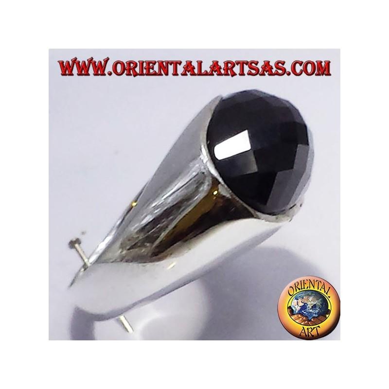 anello in argento con onice sfaccettata