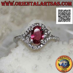 Silver ring with oval...