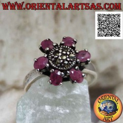 Silver flower ring with 6...