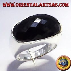 silver ring with faceted onyx