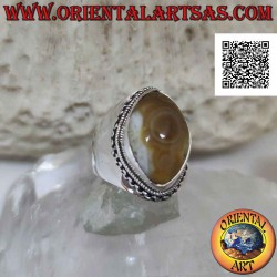 Silver ring with beige...