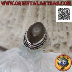 Silver ring with greyish...