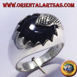 silver ring with onyx and snake