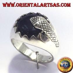 Silberring mit Onyx und Schlange