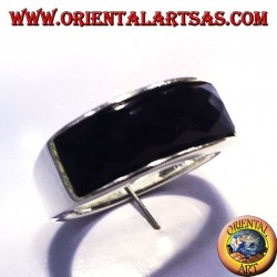 silver ring with onyx faceted rectangular curve