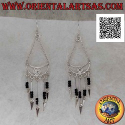 Silver earrings, crescent...