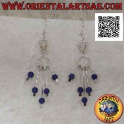 Silver earrings, hooked...
