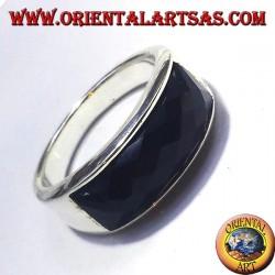 Silberring mit Onyx facettiert rechteckigen Kurve