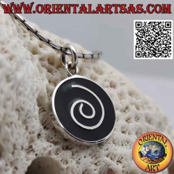 Round silver pendant with...