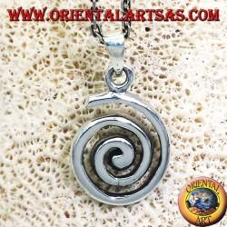 Colgante (espiral de Arquímedes involuta o espiral) de plata