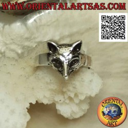 Silver ring with small fox...