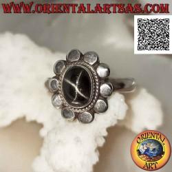 Серебряное кольцо с черной...