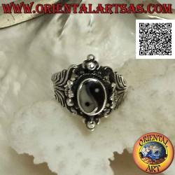 Silver ring with yin yang...