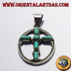 ciondolo in argento croce con sei turchesi