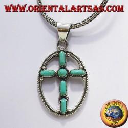 argent croix pendentif avec six turquoise