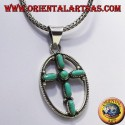silver pendant cross with six turquoise