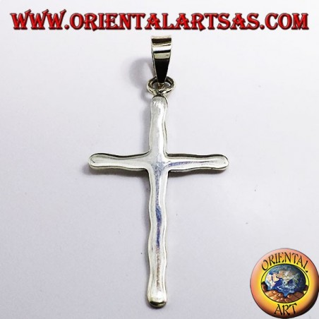 cross pendant hammered silver