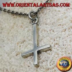 ciondolo croce di san Pietro o croce anticristiana in argento