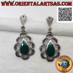 Silver earrings with green...