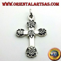 silver cross pendant with five roses