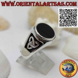 Silver ring with round onyx...