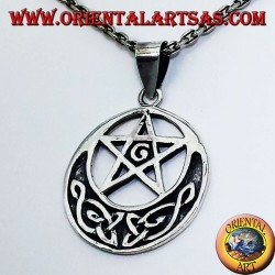 silver pendant, pentagram with G and Celtic knot