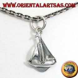 sailing boat pendant in silver