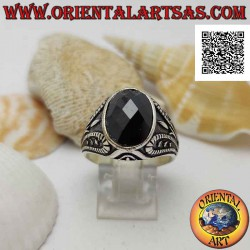 Silver ring with faceted...