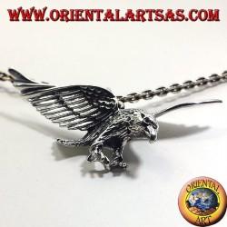 silver pendant, three-dimensional eagle