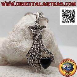 Silver pendant, onyx heart...