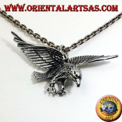 silver pendant, three-dimensional eagle