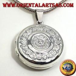 серебряный кулон, круглые рамки точеный
