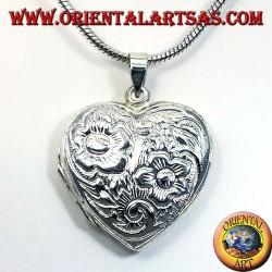 серебряный кулон, сердце высечено Frames