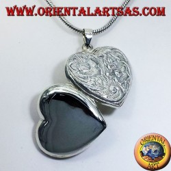 colgante de plata, corazón cincelado Marcos