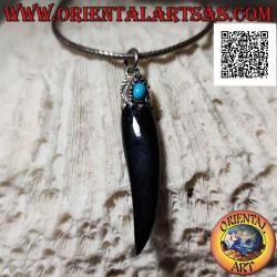 Silver pendant, onyx horn...
