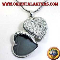 Silber Anhänger, Herz gemeißelt Rahmen